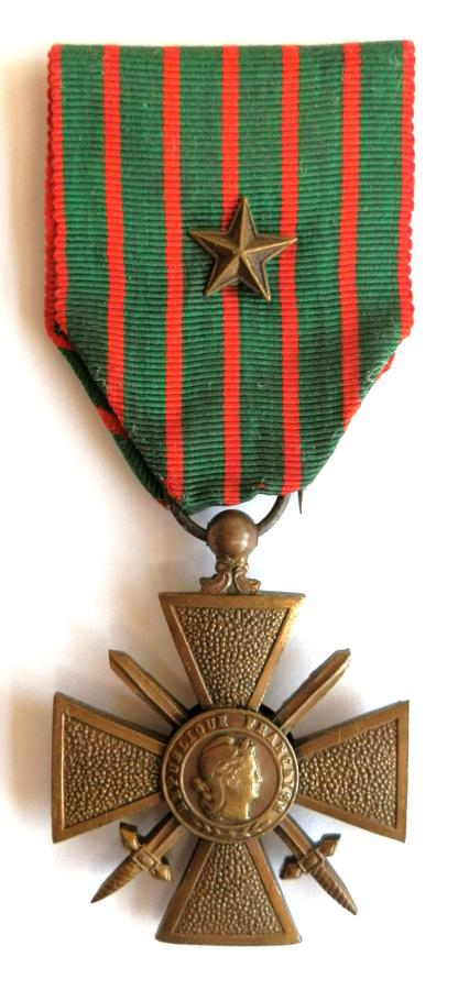 French Croix de Guerre 1914-1918 issue. with Bronze Star.