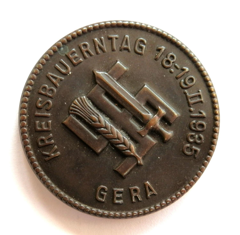 Kreisbauerntag 1:19.11.1935 Gera. Day Badge.