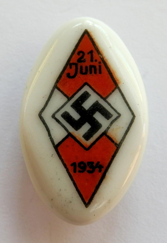 Hitler Jugend ceramic sports pin 1934.