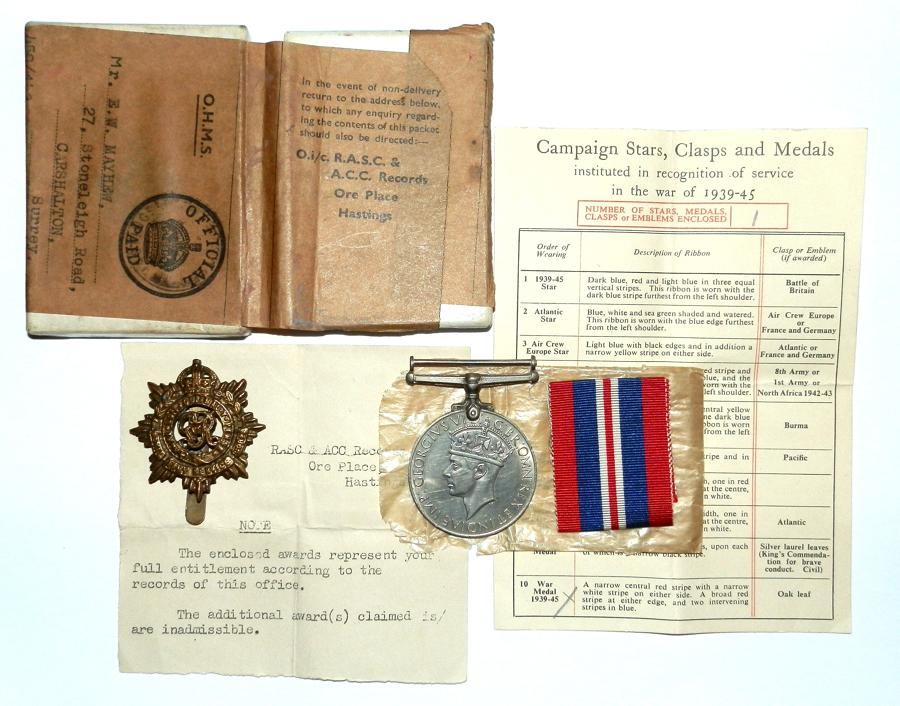 SINGLE. War Medal 1939-45 Awarded to Mr E. W. Mayhew A.S.C.