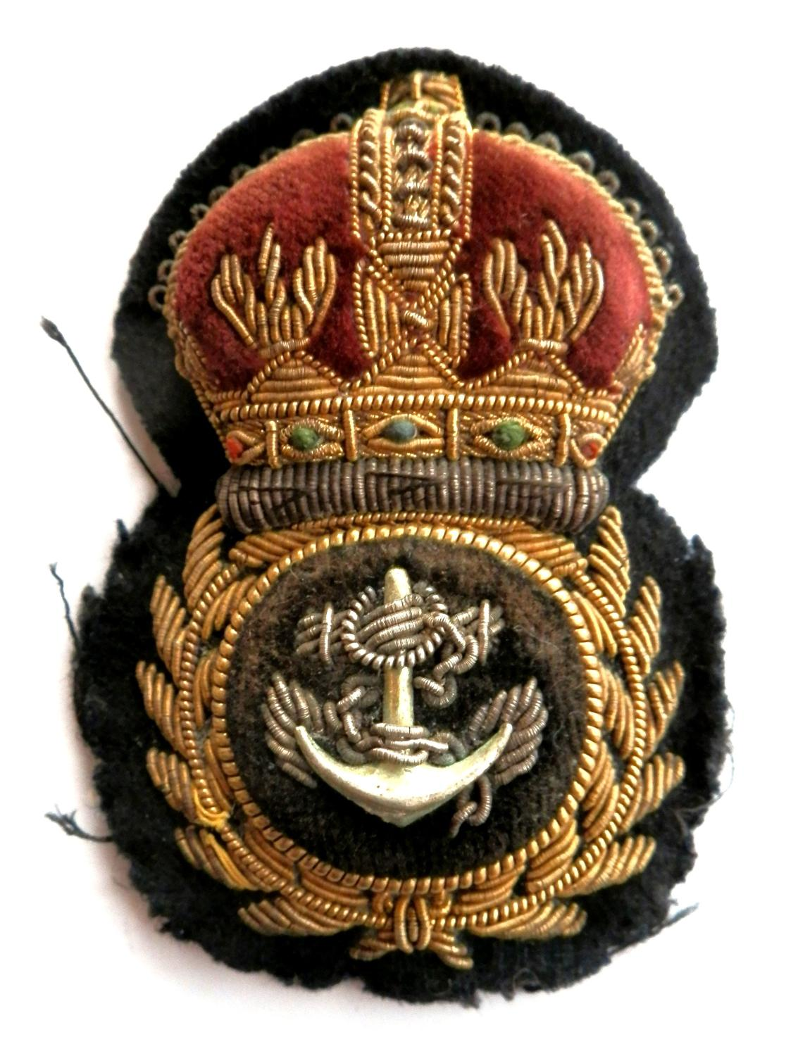 Royal Navy Chief Petty Officers Cap Badge. Kings Crown Example.