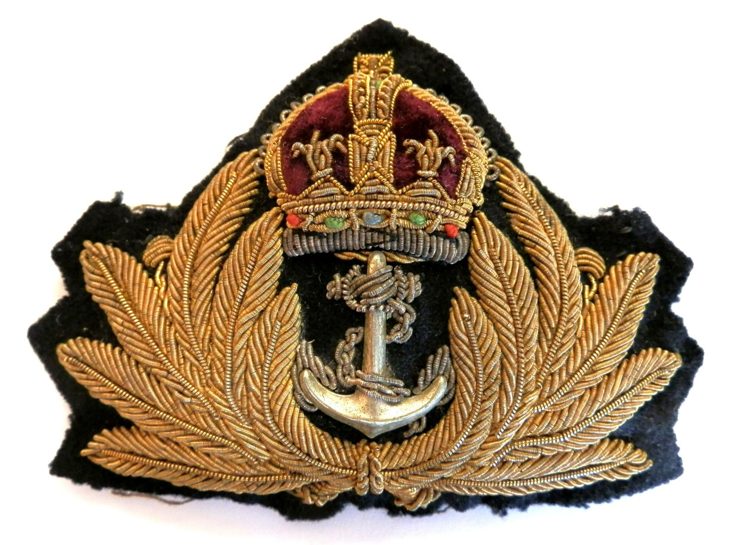 Royal Navy Officers Cap Badge. Kings Crown Example