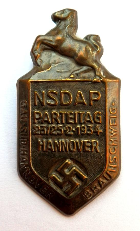 NSDAP Parteitag 23/25.2.1934 Hannover Pin Badge