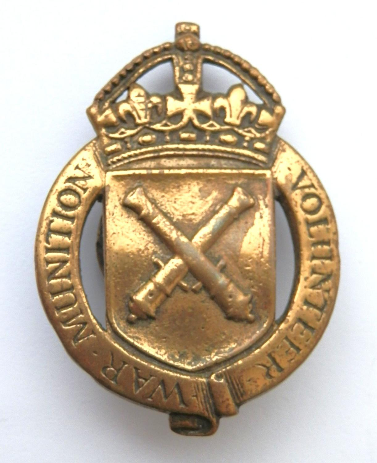 WWI War Munitions Volunteers Lapel Badge