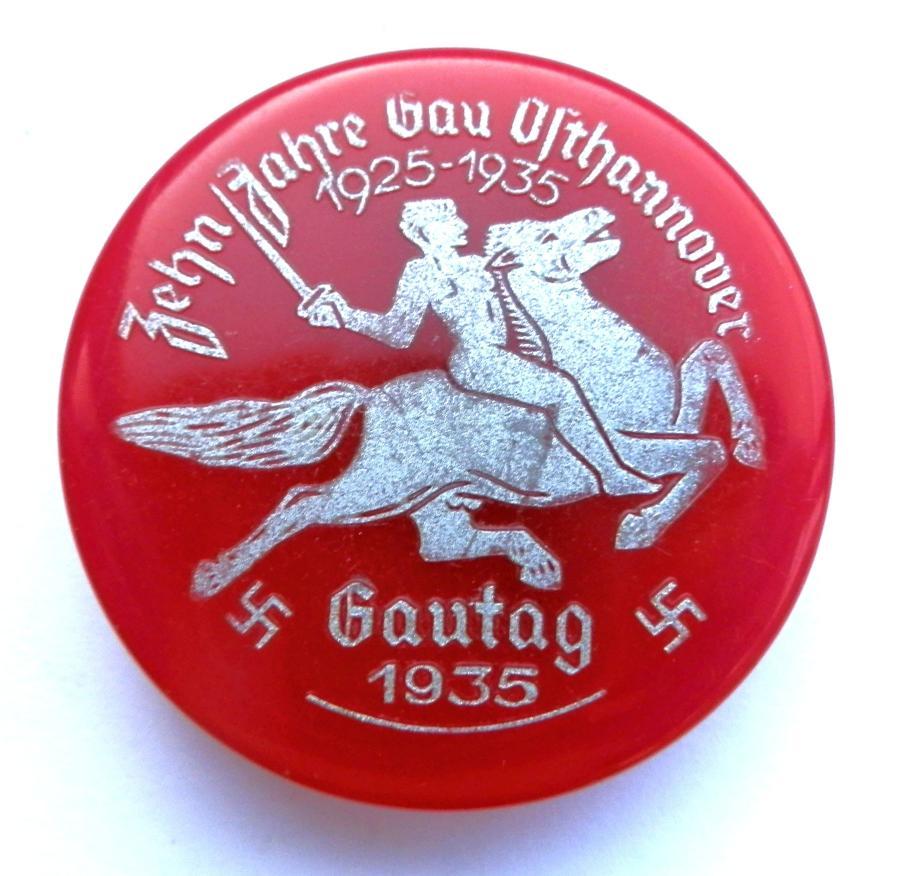 NSDAP 1935 GAUTAG Ost Hannover Day Badge.