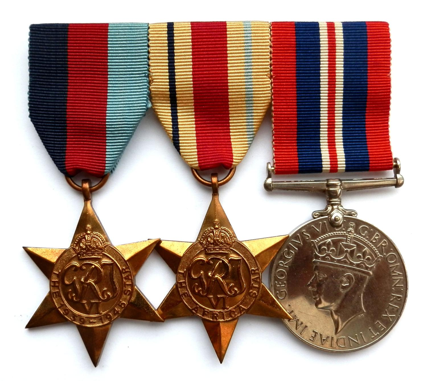 GROUP OF THREE. Un-named Mounted WWII Medal Group.