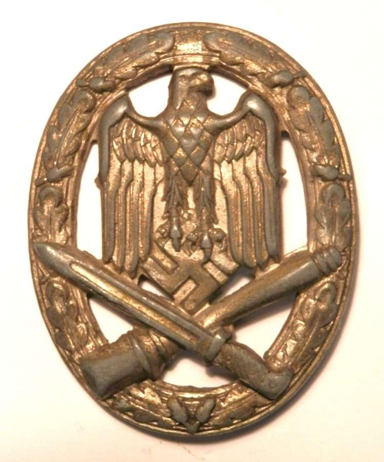 German General Assault Badge. Non maker marked