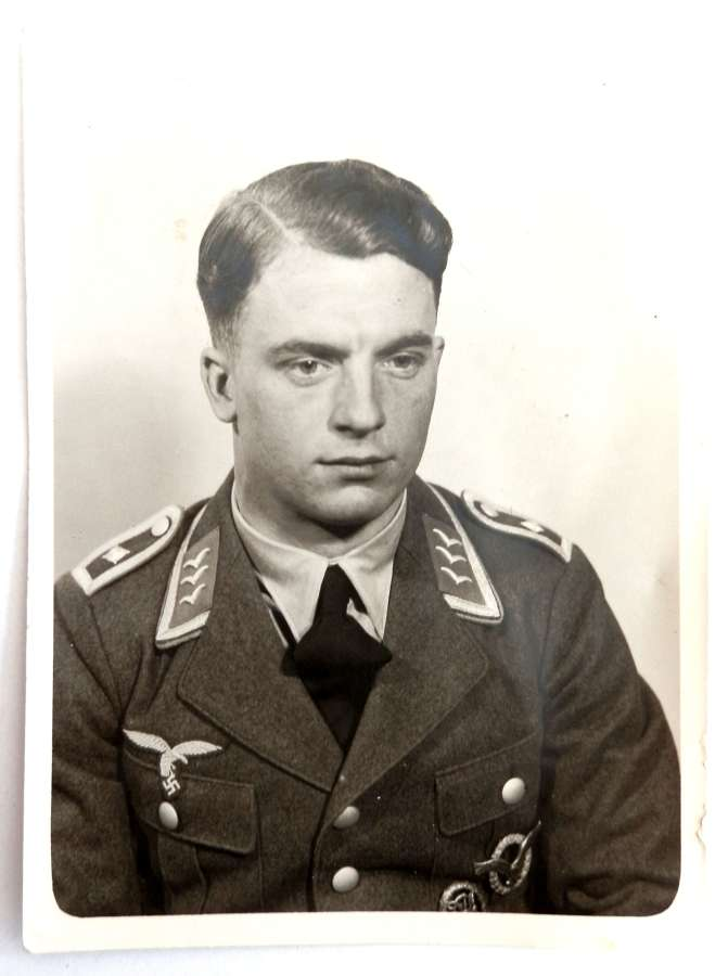 Portrait Photograph of a Feldwebel Pilot of the German Luftwaffe.