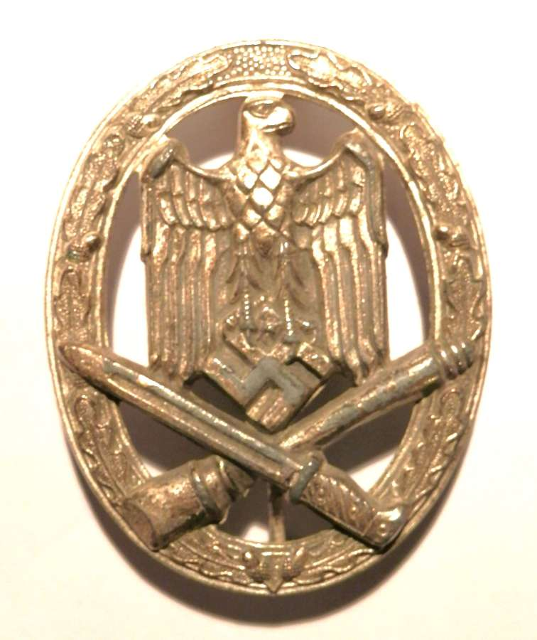 German General Assault Badge. Maker marked A (Assmann).