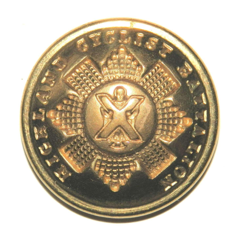 Highland Cyclist Battalion. Officers Gilt Button.