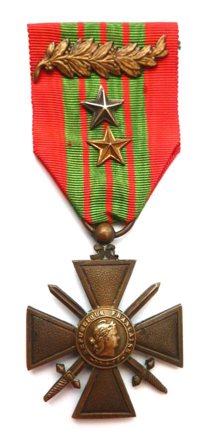 French Croix de Guerre with Palm & Stars. 1939 issue.