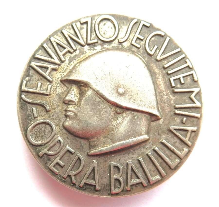 Italian Opera Balilla Fascist Badge