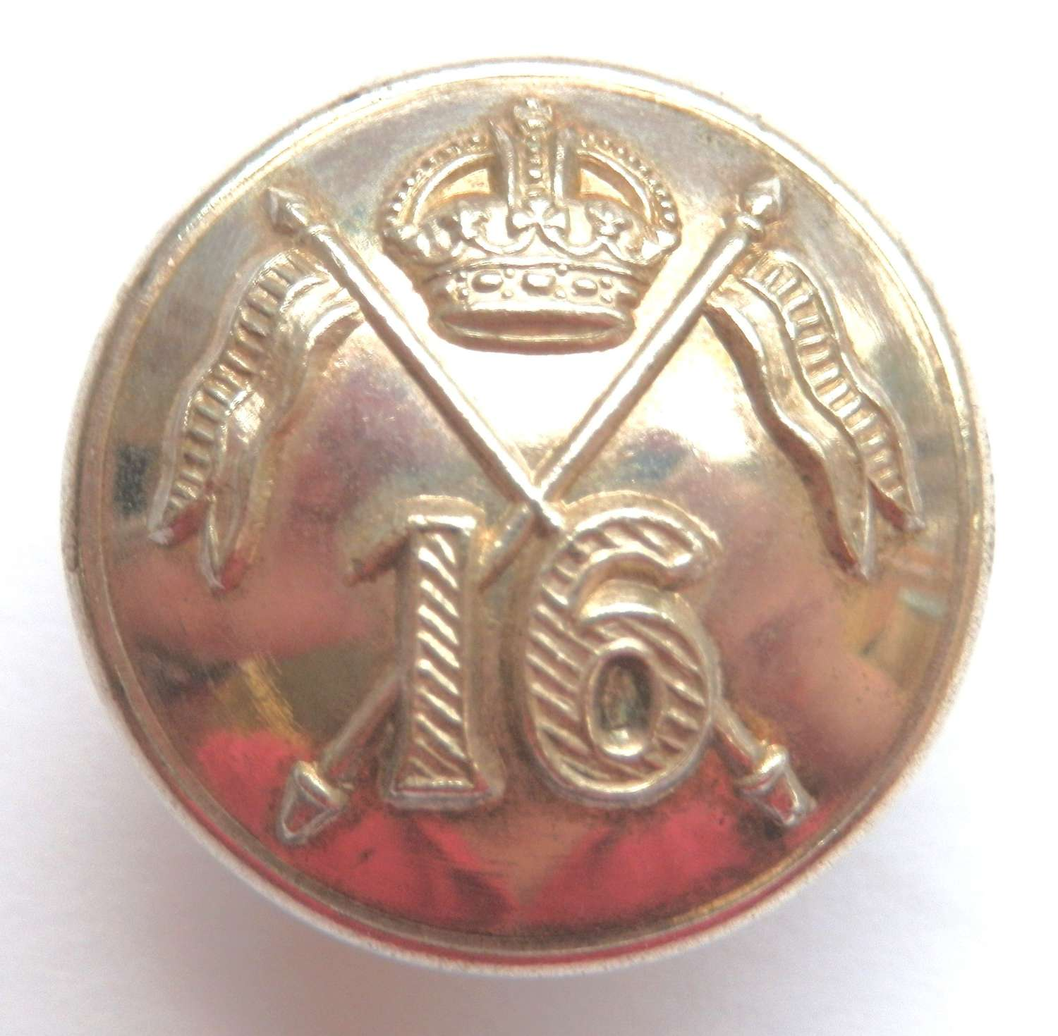 16th Lancers Officers Silvered Button.