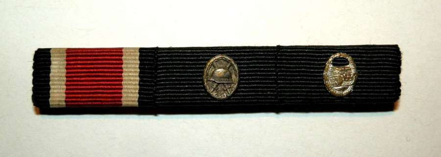 Wehrmacht Medal Ribbon Bar of Three. Post War Issue.