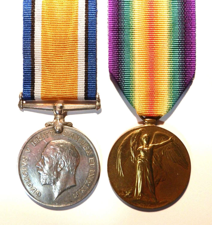 PAIR. Private Ophir Carter. 11th London Regiment.