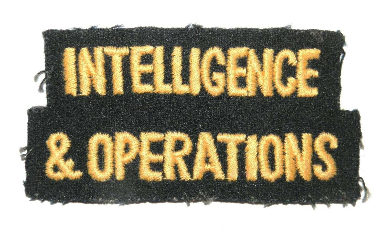 Intelligence & Operations Cloth Shoulder Title.