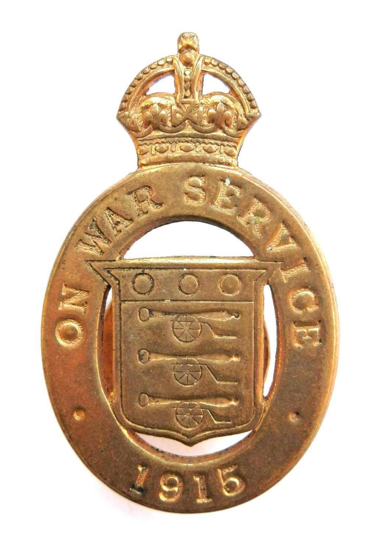 On War Service 1915 Lapel Badge.