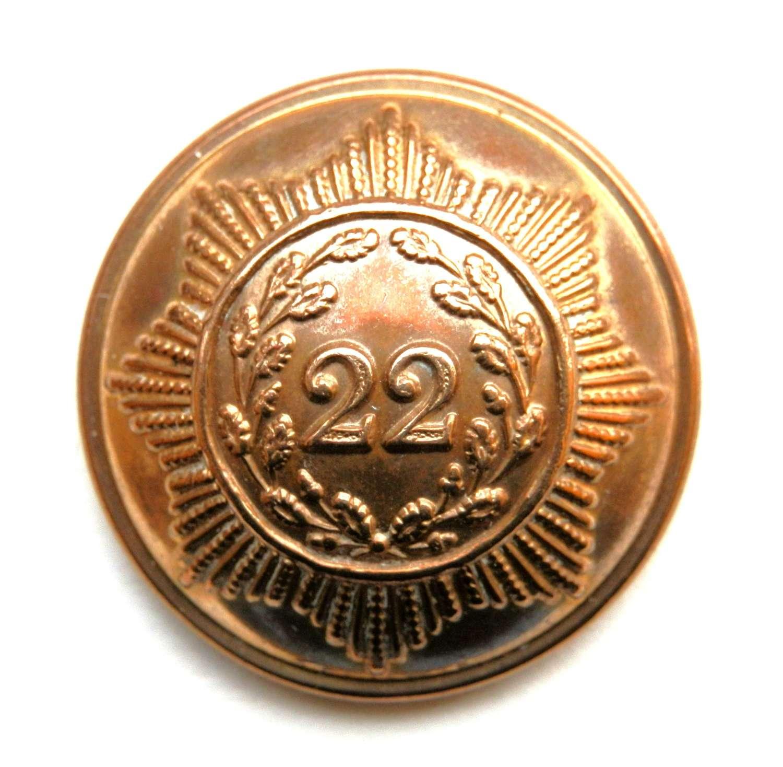 22nd (Cheshire) Regiment Foot. Circa 1855-1881 Button.