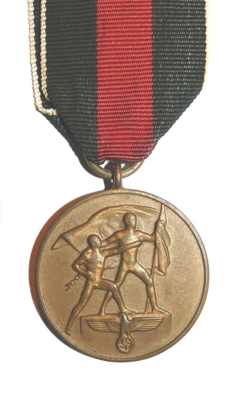Anschluss German Czech 1st Oktober 1938 Medal.
