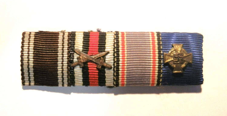NSDAP, Merit Cross, Luftschutz and 40 year Long Service Ribbon Bar.