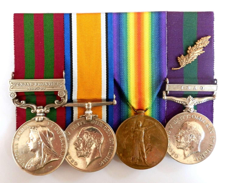 GROUP OF FOUR. Lt. H. A. Willis 3rd Rif.Bde., I.A.O.R., MID.