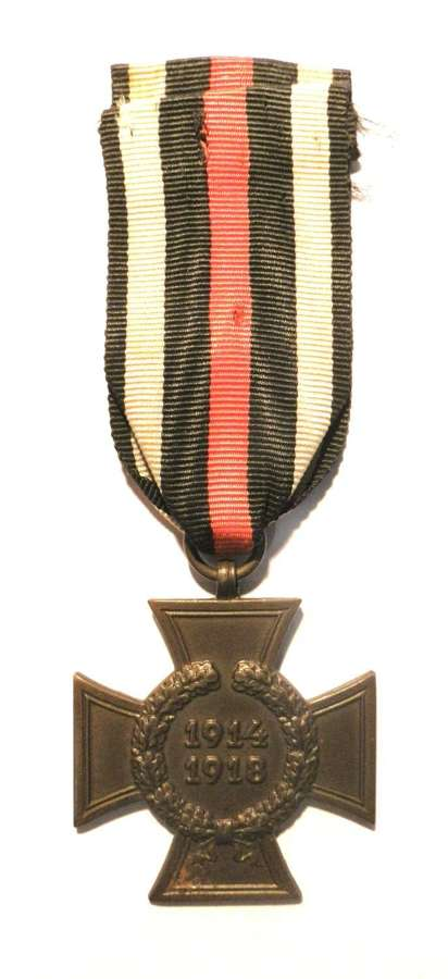 WWI Cross of Honour 1914-18. 'Civil'. Maker marked CW.